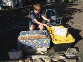 Kid selling driftwood